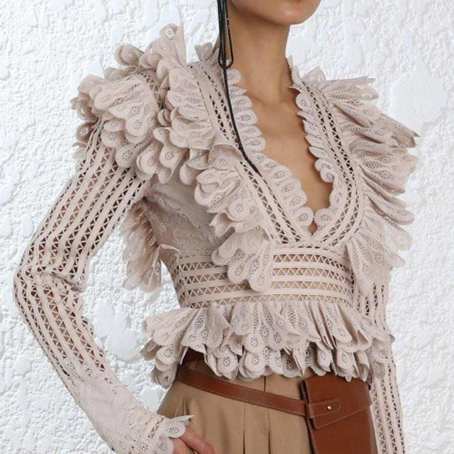 Marque de luxe piste Designer 2018 automne femmes solide Blouse à manches longues évider mode ébouriffé col en v partie manteau nouveaux hauts
