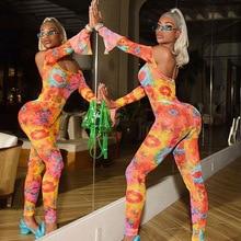 Echoine Sexy Off shoulder Women Jumpsuit Tie Dye Floral Print Slash Neck Backless Bodycon Slim Rompers Party Club Outfits