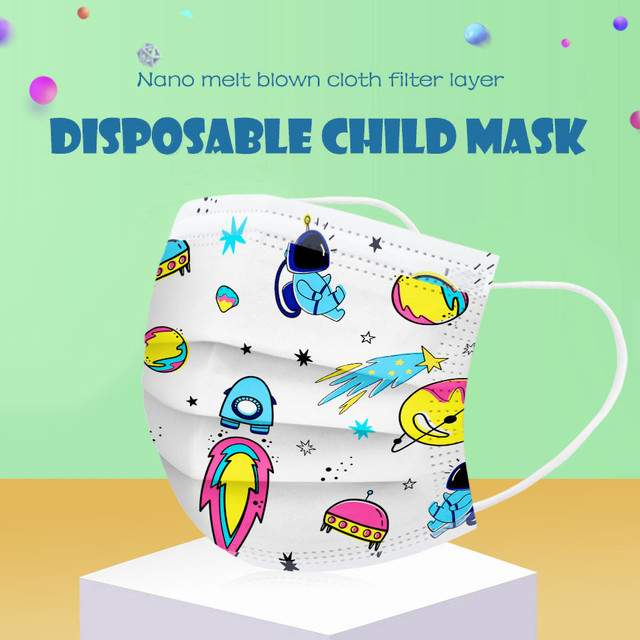 50pcmask Children Kids 3-8 Years Old Mouth Mask Disposable Print Face Mask 3ply Ear Loop Mouth Cover Face Shiled Mask Mascara #z 3