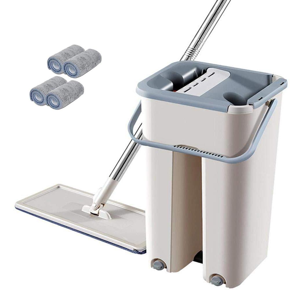 Rebound Automatic Manual Bucket Space Saving Handfree Squeeze Flat Mop Set Replacement Cloth Floor Cleaning Living Room Kitchen