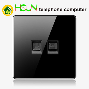 High-grade 1 2 3 4 gang 1 2 way big panel black switch socket Type 86 Wall 2.5D Cambered Mirror Toughened glass Computer TV 22