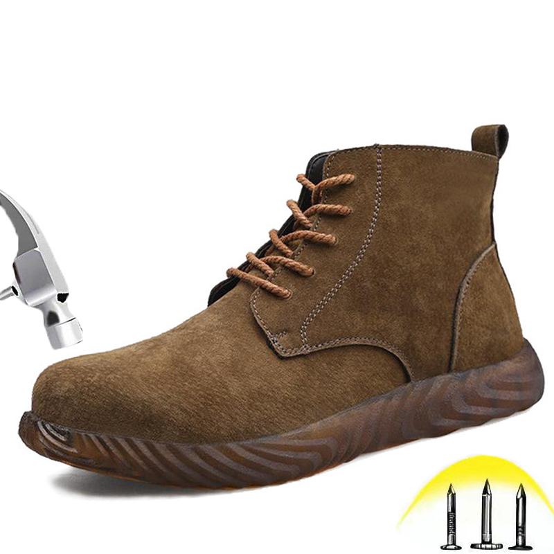 Work Shoes For Men and Women Waterproof Leather Boots With Steel Toe Puncture Proof Man Outdoor Construction Safety Shoes image
