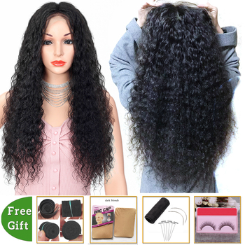 deep wave wig 13x4 lace front wig lace frontal wig Brazilian glueless lace front Human Hair Wigs for women non-remy 150% Density alidoremi brazilian deep wave 13x4 lace front wig 100