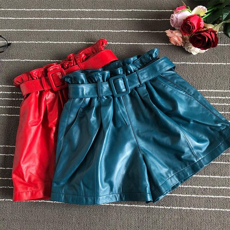 2019 Autumn Women's Sheepskin Wide-leg Shorts Chic Belt Real Leather High-waist Short Trousers A711