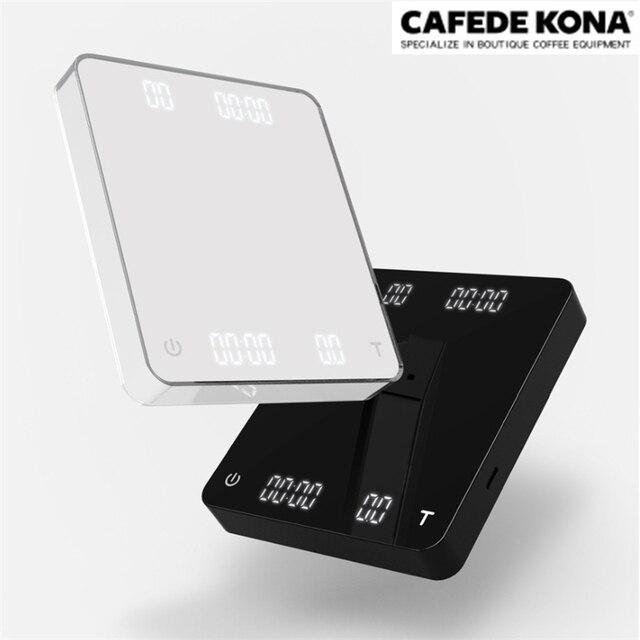 CAFEDE KONA balance à café double écran USB charge balance à café numérique avec minuterie café balance électronique balance de cuisine 3KG/0.1g