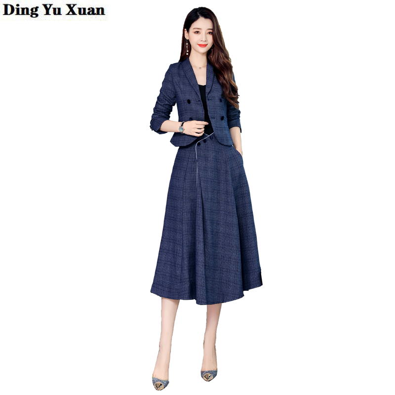 Ladies Long Skirts Suit for Women Double Breasted Blazer Jacket and Mid Calf Skirt Office Work 2 Piece Set Clothes Elegant Suite