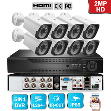 720P/1080P 8CH AHD Security DVR CCTV Surveillance System Kit With 8pcs Waterproof Outdoor IP66 Camera IR Cut US/UK/EU Plug aokwe full 720p 8ch ahd dvr security camera system kit 1200tvl 8pcs 720p dome ir cctv camera indoor dome ahd dvr kit