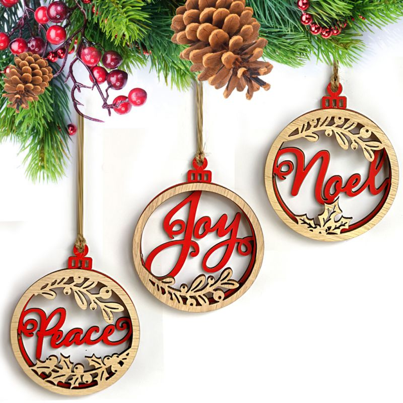 3pc Double Wooden Wall Hanging Decor Deer Letter Pattern Layer DIY Sign with Rope Christmas CM