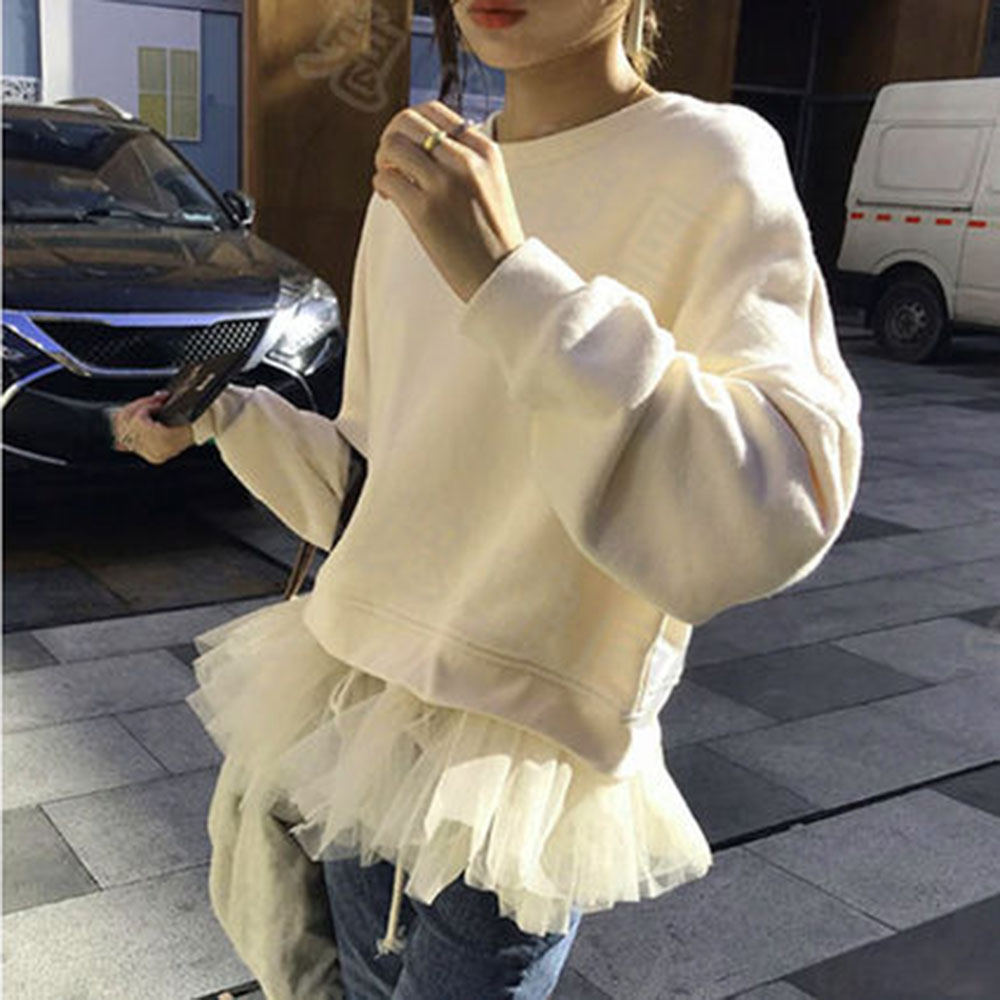 Hoodies Women 2019 Harajuku Large Size Trendy Solid O-neck Womens Pullover Students Long Style Full Sleeve Ladies Sweatshirts