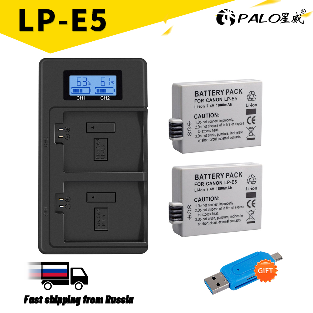 LP-E5 LPE5 Lp E5 Camera Batterij + Lcd Daul Usb Lader Voor Canon Eos 1000D 500D 450D Kus X3 X2 F Eos Rebel Xs Xsi Rebel T1i.