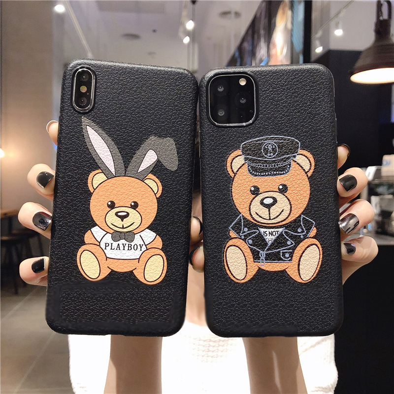 Leather Pattern Bear Case For iPhone 11 Pro Max Silicone Phone Cover for iPhone 7 6 6s Plus Cases Soft TPU Cover For iPhone #E0(China)