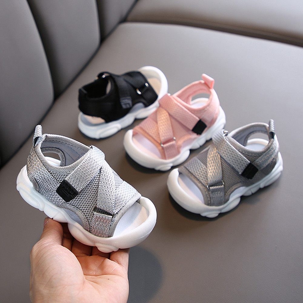 Summer Toddler Sandals Baby Girl Shoes Solid Color Net Cloth Breathable Boys Sneakers Kids Infant Sport Girls Sandals SYJ035