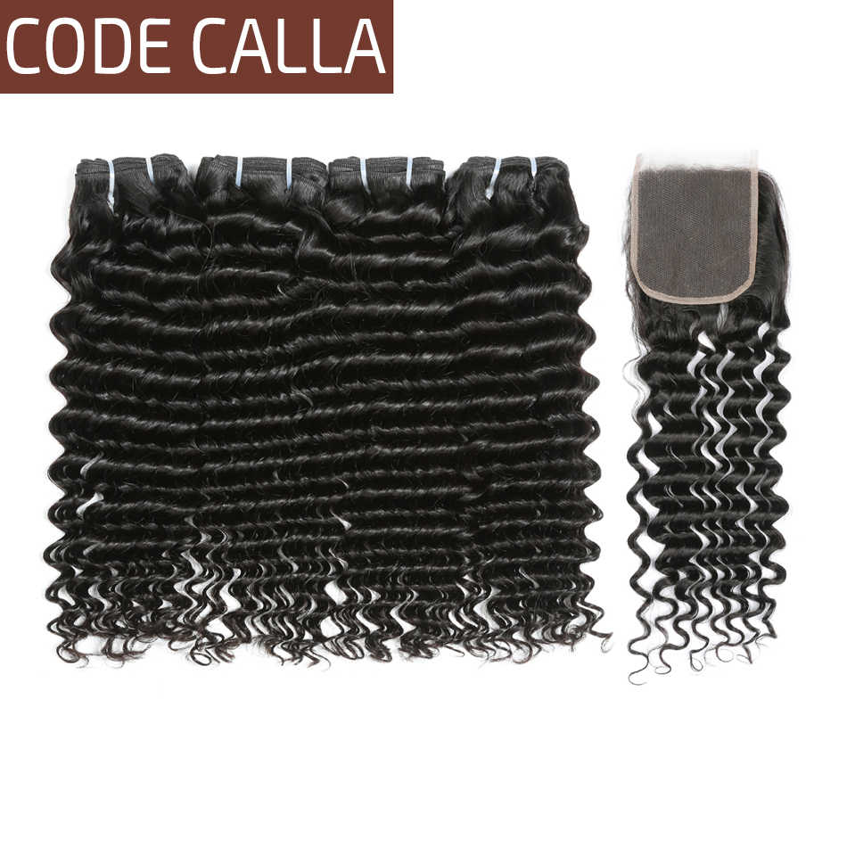 Code Calla Peruvian Deep Wave Unprocessed Raw Virgin Human Hair Bundles Extensions With Lace Closure Natural Color For Salon