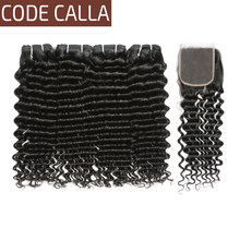 Code Calla Peruvian Deep Wave Unprocessed Raw Virgin Human Hair Bundles Extensions With Lace Closure Natural Color For Salon(China)
