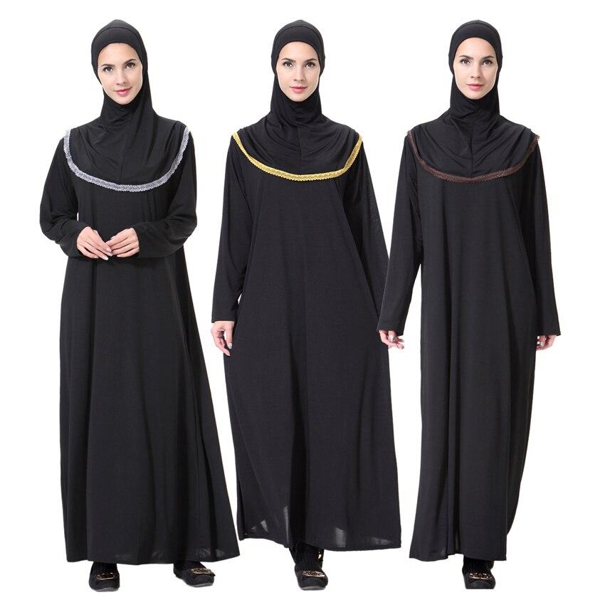 Women Black Robe Muslim Abaya Dubai Arabic Eid Worship Service Ramadan Wear Islamic Solid Clothing Elegant Prayer Dress