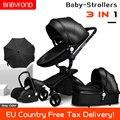 Schnelles verschiffen! Baby kinderwagen klapp zwei möglichkeit push luxus hohe landschaft 3 in 1 baby wagen mit auto sitz 6 stücke freies geschenke|Kinderwagen mit vier Rädern|   -