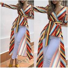 2019 Women Elegant Colorful Striped Ruffles Blouse Summer Leisure Asymmetrical Casual Shirt Vacation Long Top