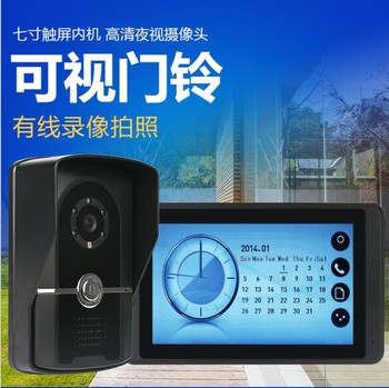 7 inch capacitive touch screen video doorbell with video camera clock display function intercom one to one