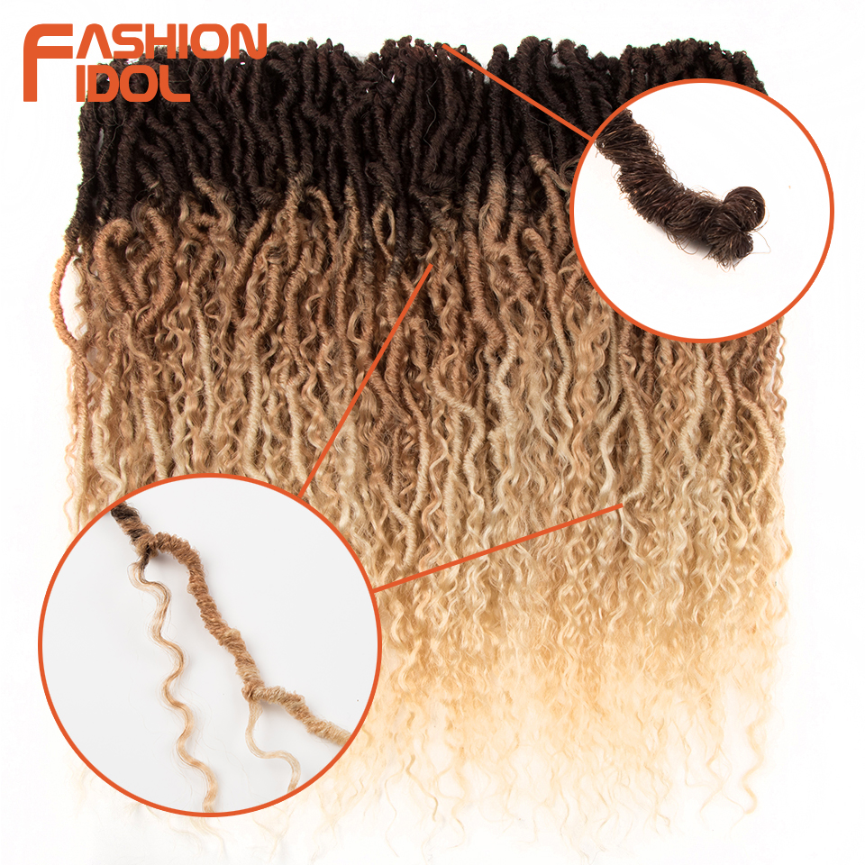 FASHION IDOL 20 Inch Soft Faux Locs Curly Crochet Braids Synthetic Hair Extensions Ombre Brown Kinky Curly Afro Hair For Women