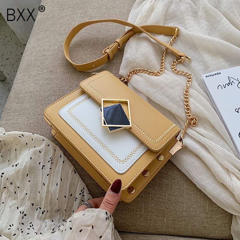 [BXX] PU Leather Small Shoulder Messenger Bags For Women 2020 Spring Fashion Chain Crossbody Bag Female Travel Mini Bags HL606