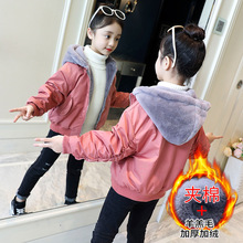цена на Children's Winter Jackets Kids Girl Hooded Thicken Fur Liner Warm Coat Toddler Girls Autumn Bomber Jacket Clothes 6 8 12 14 Year
