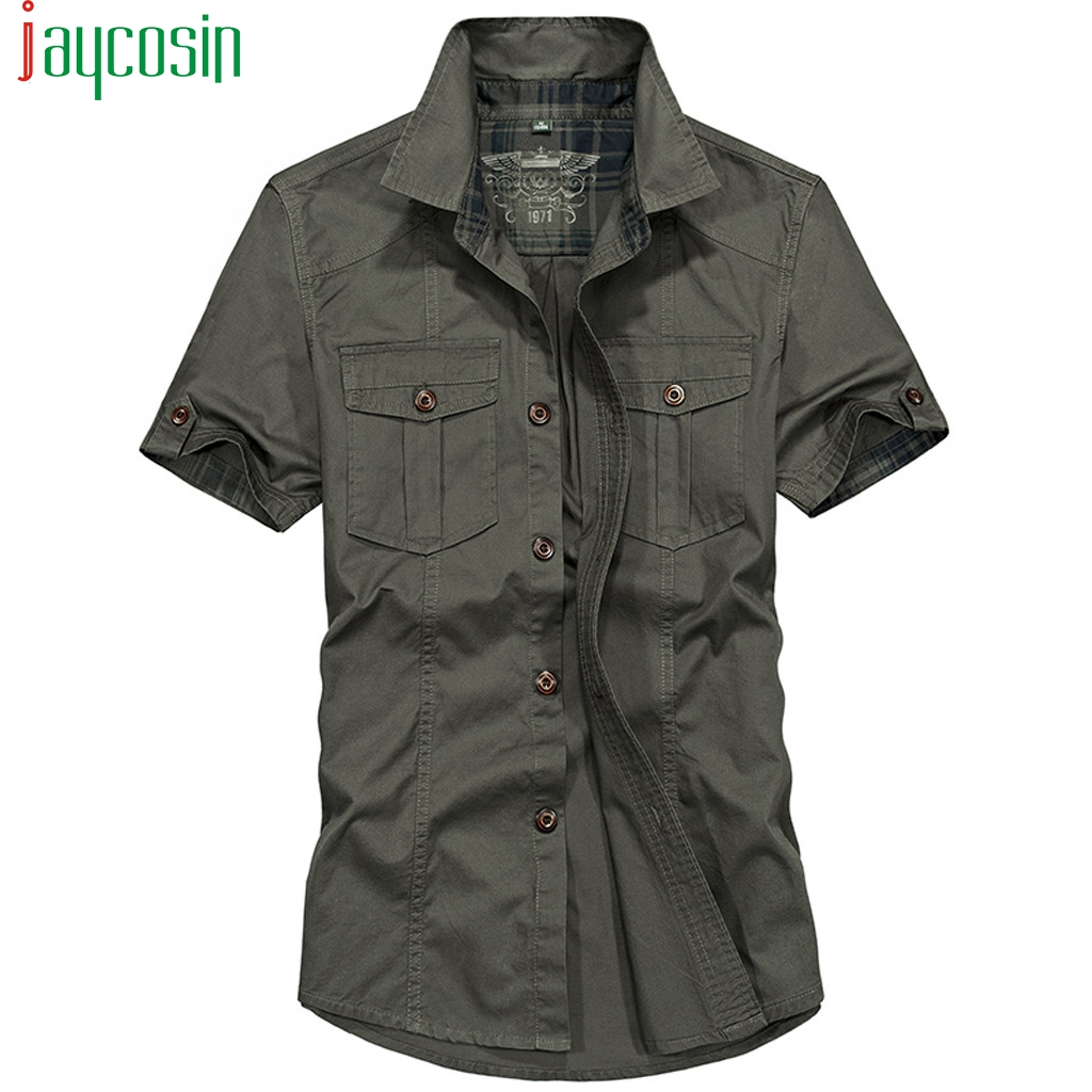 Men Fashion Loose Cargo Shirt Short Sleeve Pocket Solid Color Shirts Summer Casual Plus Size Mens Clothing Button Fashion Tops