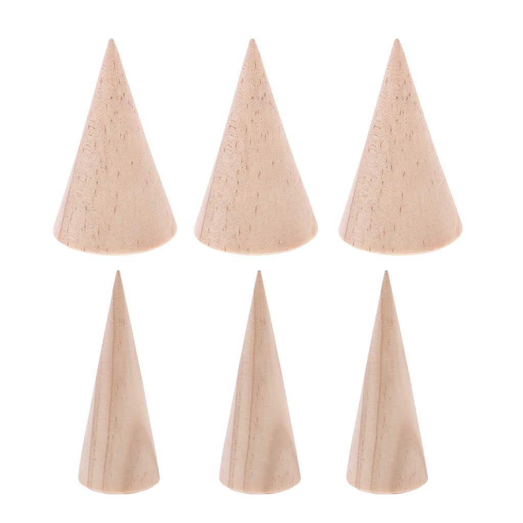 6 قطع غير مصبوغ مخروط الخشب خشبية حلقة رف المجوهرات عرض موقف حامل