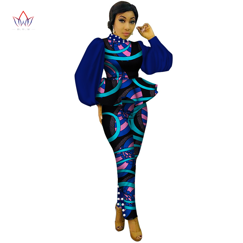 New Style 2 Piece Sets Women Crop Ruffles Top And Pant Sets Bandage Pants Brand African Print Pants Plus Size 6xl WY3156