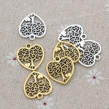 320 шт античные с серебристым покрытием Древо жизни подвески-шармы в форме сердца ювелирные изделия Аксессуары для изготовления браслетов с...
