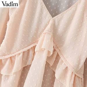 Image 4 - Vadim mujer puntos diseño Blusa con volantes cuello en V manga larga linterna camisa mujer casual elegante sólido blusas LB378