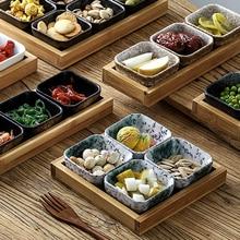 Японский стиль керамический Банкетный контейнер для закусок Фруктовая тарелка набор тарелок для сухофруктов и конфет миска для торта с деревянным поддоном