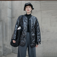 Korean version of cotton long sleeved loose version women's parka coat lined gourd pattern black autumn and winter 2019 coat