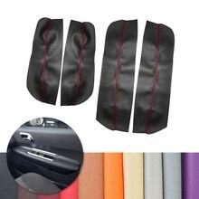 Para peugeot 3008 2011 2012 4 pçs painel de apoio braço da porta interior do carro capa couro microfibra decoração