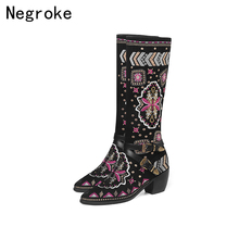 цена Brand Boots Women Shoes Winter Knee High Boots Embroidery Botas Mujer Ladies Shoes Botas Mujer Invierno 2019