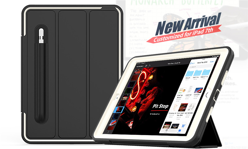 Safe PU for iPad Full-Protection-Case Hard-Cover 7-7th-Generation Apple Kids Shockproof