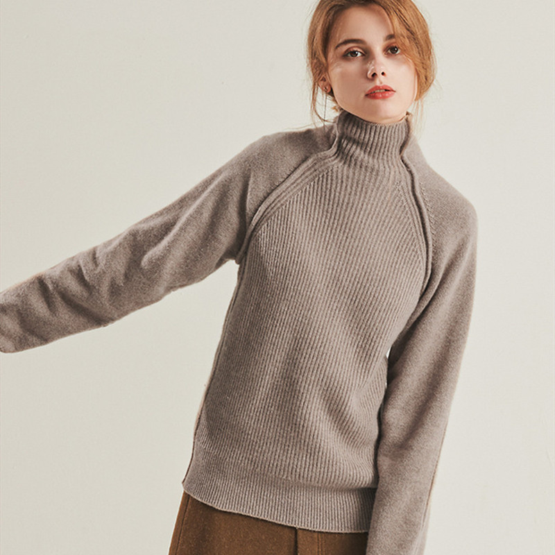 BARESKIY2019 women 39 s new cashmere cashmere sweater pullover high collar solid color sweater sweater fashion pullover sweater in Pullovers from Women 39 s Clothing