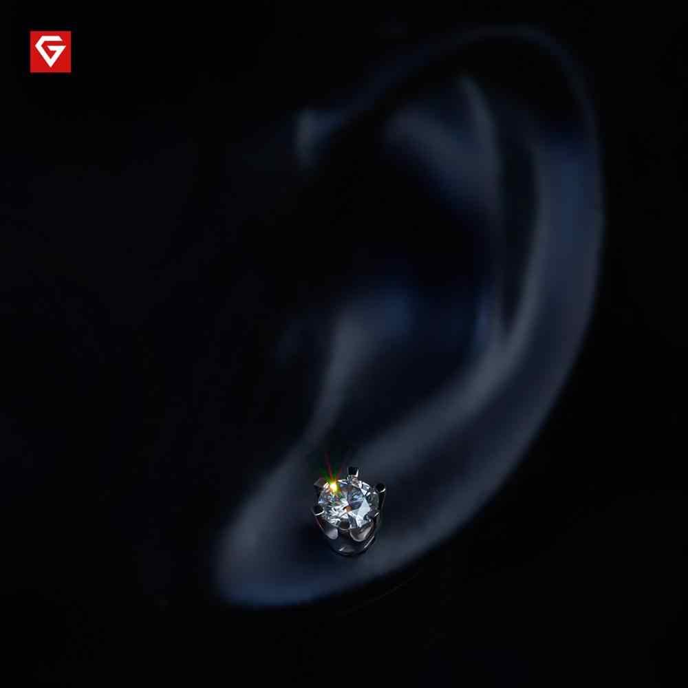 GIGAJEWE EF รวม 1ct รอบตัดเพชรผ่านการทดสอบ Moissanite 18K สีขาวทองชุบ 925 เงินต่างหูผู้หญิงแฟนของขวัญ