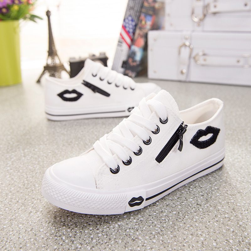 Designer Women Sneakers Summer Zip Red Lips Canvas Shoes White Casual Shoes Comfortable Zapatillas Mujer Basket Femme 2