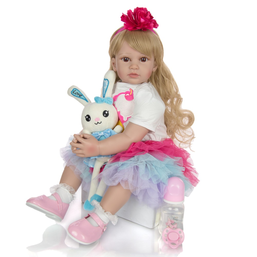 NPK <font><b>DOLL</b></font> 24 Inch Elegant <font><b>Reborn</b></font> Baby Girl <font><b>Doll</b></font> <font><b>60</b></font> <font><b>cm</b></font> Soft Vinyl Cloth Body Princess <font><b>Doll</b></font> Lifelike Boneca bebe <font><b>reborn</b></font> Playmate image