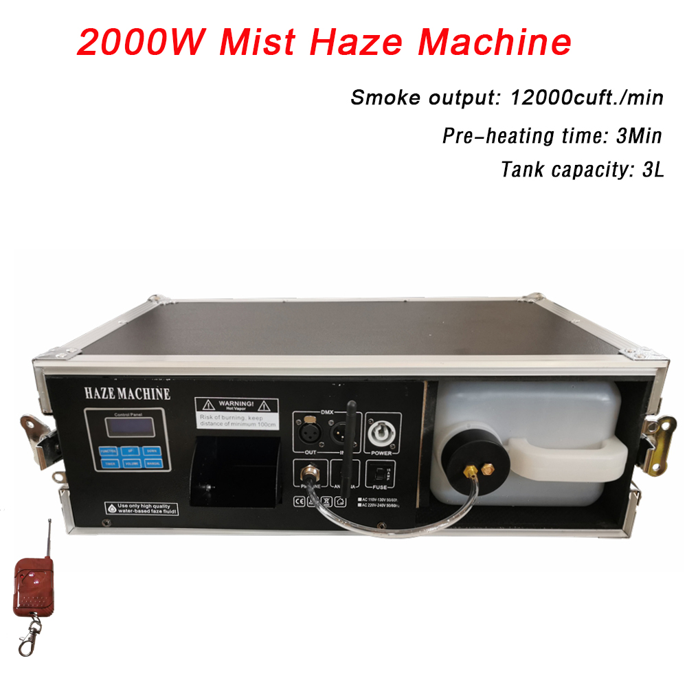 Flight Case Packing 2000W Mist Haze Machine China Stage Laser Equipments 5L Professional Fog Machine For Party Wedding Christmas