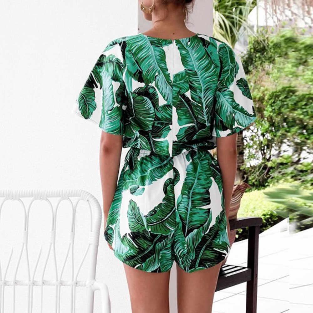 38 # frauen Overall 2019 Einfache Mode Sexy Backless Dame Sommer Blatt Drucken Kurzarm V-ausschnitt Overall Overall