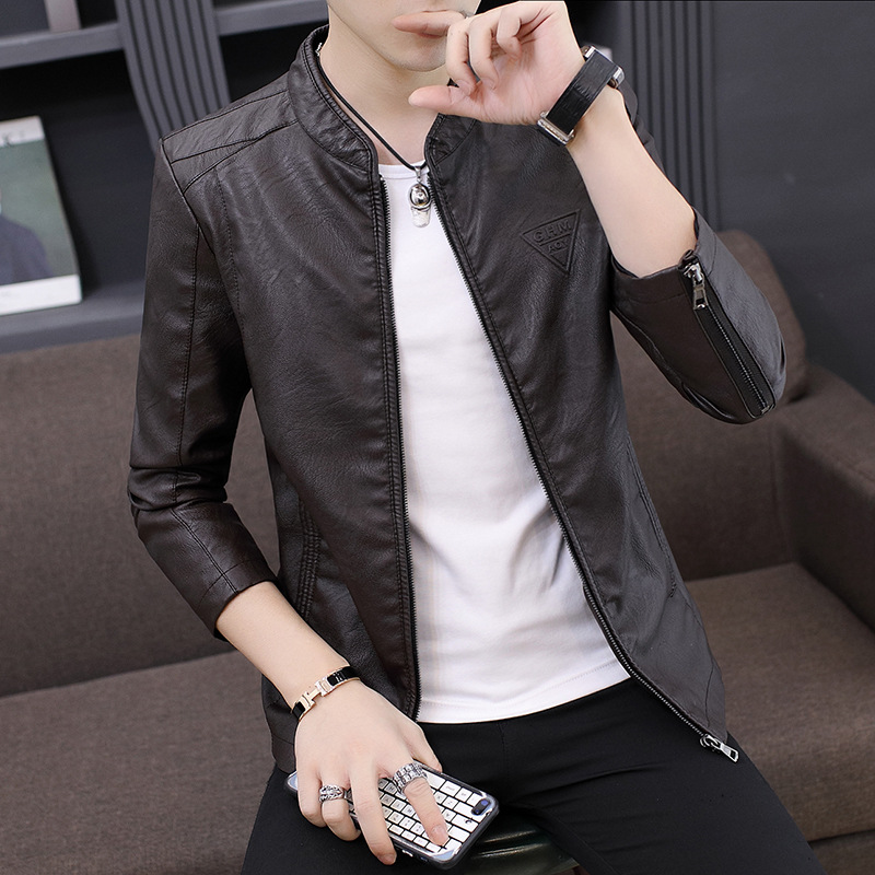 Spring And Autumn New Style MEN'S Leather Coat Brushed And Thick Locomotive Youth PU Leather Jacket Men's Korean-style Slim Fit