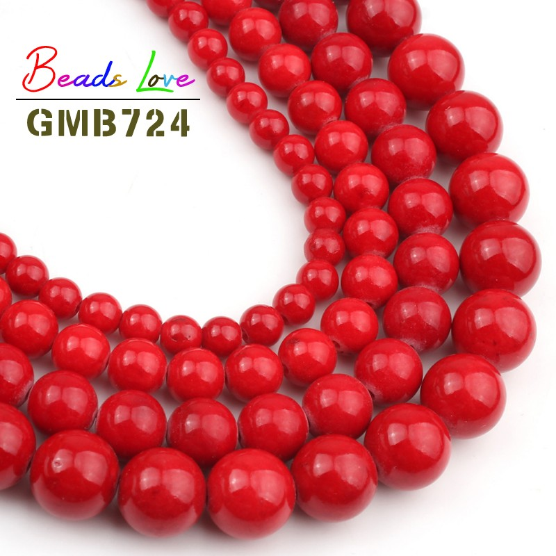 Natural Stone <font><b>Red</b></font> <font><b>Coral</b></font> Colors Jades 4 6 8 10 12MM Round Loose Beads for Jewelry Making Charm Bead DIY Bracelet Necklace 15 Inch image