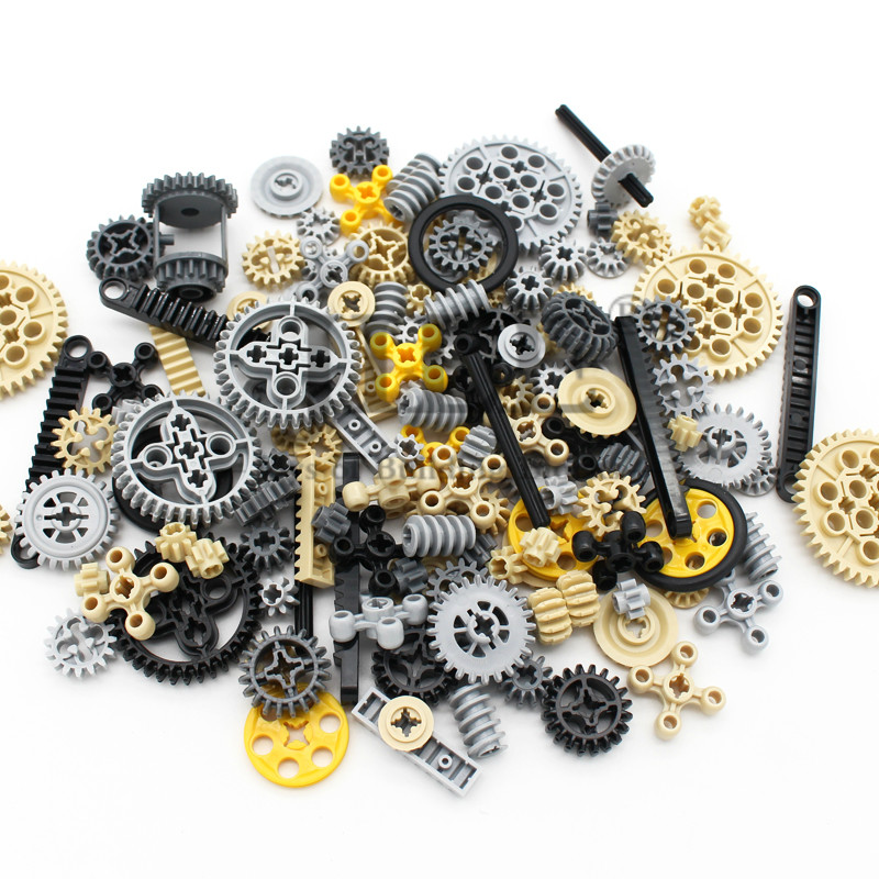 Moc Technology Wheel Gear Parts Set Bulk DIY Building Blocks Bricks Accessories Combination Mechanical with Cross Alxe Science