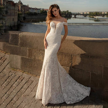 Sexy Lace Mermaid Wedding Dress 2020 Boho Lace Applique Off Shoulder Bohemian Wedding Gowns Bridal Dress Custom Made lace applique lantern sleeve cold shoulder top