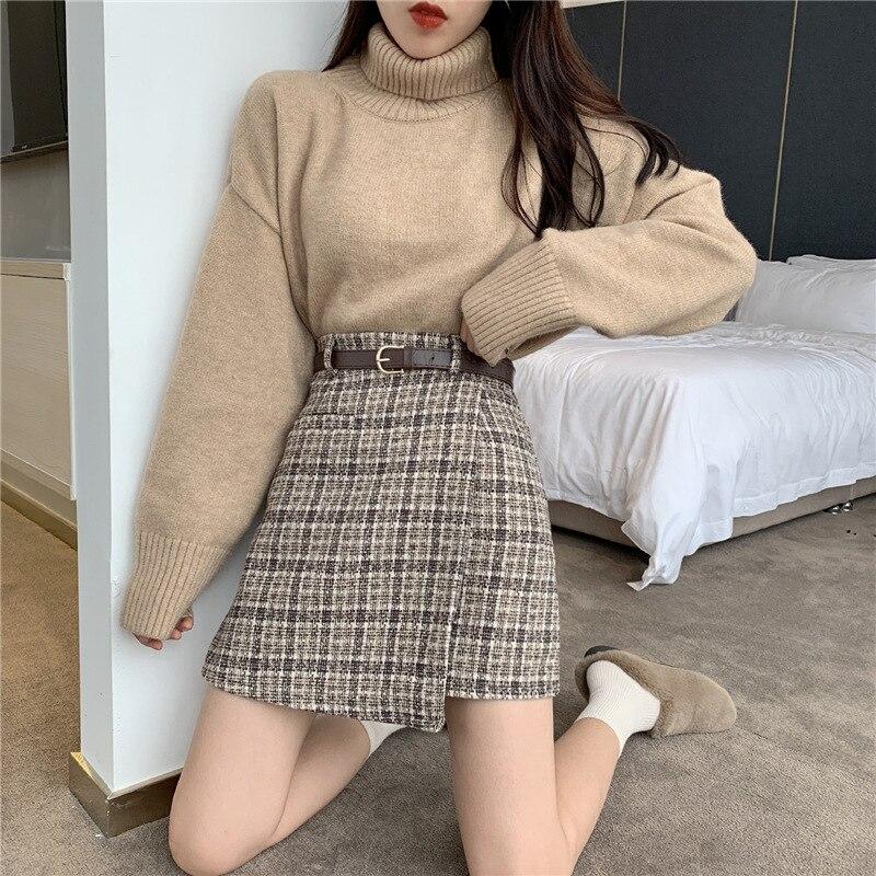 2019 New Style Autumn CHIC Hong Kong Flavor Short Skirt Women's Vintage Skirt High-waisted Woolen Plaid A- Line Skirt With Belt