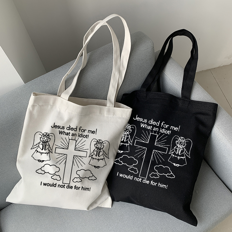 jesus died for me canvas bag casual Harajuku cartoon Letter new punk large capacity women