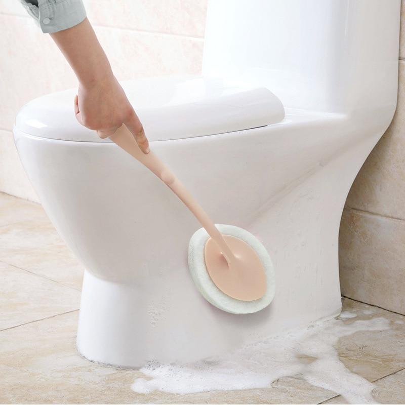 Toilet Bathroom Wash Cleaning Tool Accessory Long Handle Brush Eraser Magic Sponge Cleaning Sponge For Dishwashing Kitchen