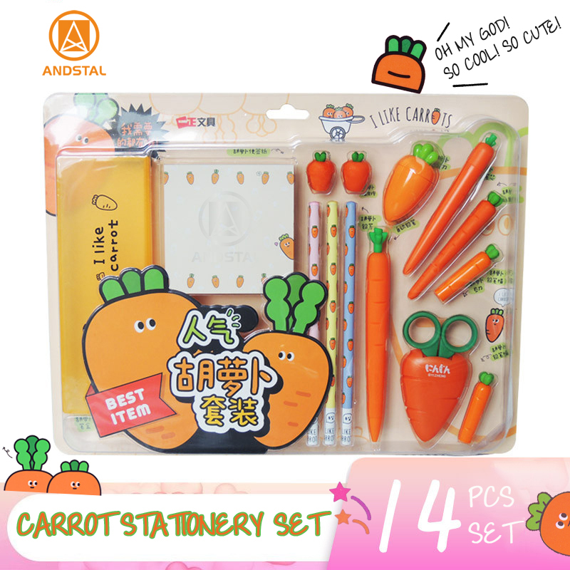 Andstal Super Cool Cute Carrot Stationery Set Kawaii Stationary Set For School Supplies Kids Gift Box