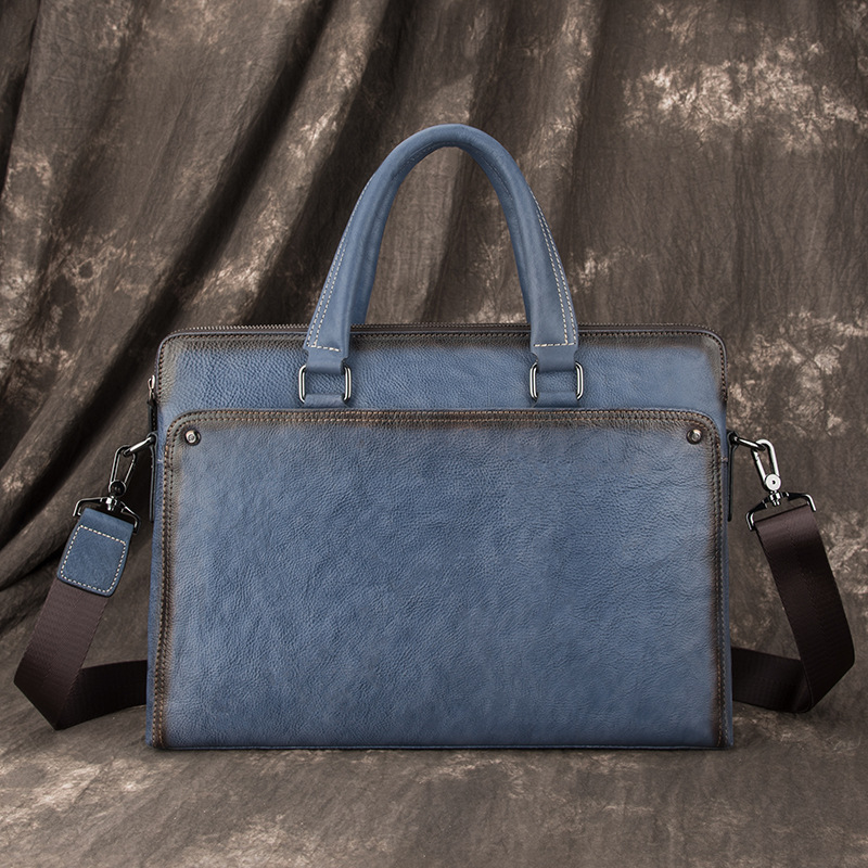 Luxury Vintage Natural Skin Men's Briefcase Brand Design Male Business Bags Genuine Cow Leather Handbag Shoulder Messenger Bags